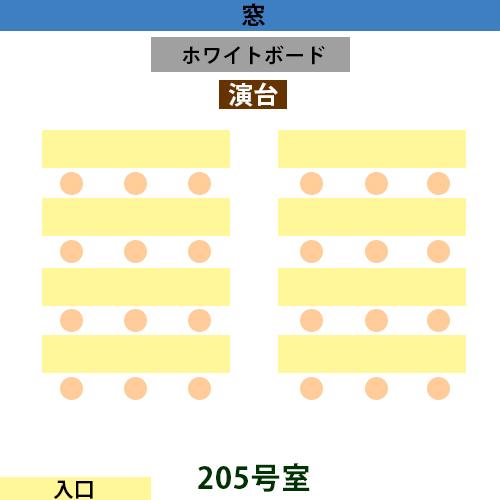 新宿・新大久保 貸し会議室205号室の間取り(最大24名まで)