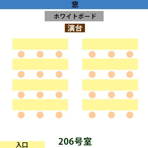 新宿・新大久保 貸し会議室206号室の間取り(最大24名まで)