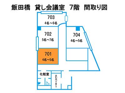 飯田橋 貸し会議室 701号室の間取り図
